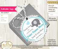 Boy Elephant Thank You Tags, Circle Favor Tags Personalizable for Shower, Birthday b