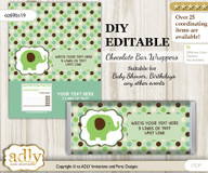 DIY Personalizable Boy Peanut Chocolate Bar Candy Wrapper Label for Boy  baby shower, birthday Sage Brown , editable wrappers