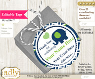 Boy Elephant Thank You Tags, Circle Favor Tags Personalizable for Shower, Birthday n