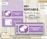 DIY Personalizable Girl Lamb Chocolate Bar Candy Wrapper Label for Girl  baby shower, birthday Ship , editable wrappers nv