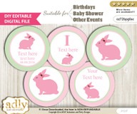 DIY Text Editable Girl Bunny Cupcake Toppers Digital File, print at home, suitable for birthday, baby shower, baptism