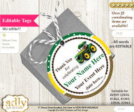 Boy Tractor Thank You Tags, Circle Favor Tags Personalizable for Shower, Birthday