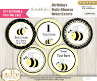 DIY Text Editable Girl Bee Cupcake Toppers Digital File, print at home, suitable for birthday, baby shower, baptism