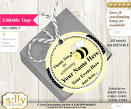 Girl Bee Thank You Tags, Circle Favor Tags Personalizable for Shower, Birthday