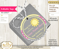 Girl Sunshine Thank You Tags, Circle Favor Tags Personalizable for Shower, Birthday