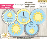 DIY Text Editable Boy Sunshine Cupcake Toppers Digital File, print at home, suitable for birthday, baby shower, baptism