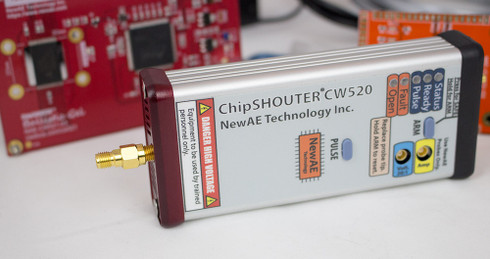 ChipSHOUTER - the EMFI tool! Pictured with included EMFI targets (Ballistic Gel + Simple Target).