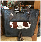 American West Ladies Black Handbag with Cowhide  100% Top Grain Leather (P)