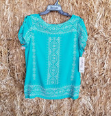 Wrangler Ladies Short Sleeved Turquoise Blouse Embroidered (in-store-only-kc)
