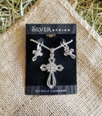 Silver Strike Loop Cross Necklace and Earring Set