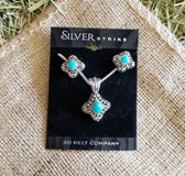 Silver Strike Hypo-Allergenic Ornate Turquoise Necklace and Earring Set