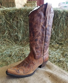 Corral Ladies Fancy Dress Boots Interwoven Design Brown Leather (in-store-only-kc)