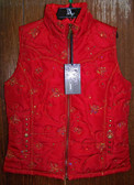 Adiktd Red Women's Quilted Sequins Vest (In Store Only)