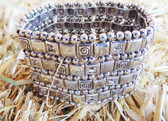 Brighton Ladies Bracelet, Stretchable, Adorned With Patterned Silver Squares