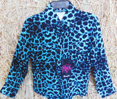WRANGLER Rock 47 Long Sleeved Girls Blouse, Teal Blue and Black Leopard Print, sizes xxs, xs, s, m, l, (In Store Only)
