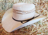 Twister Youth Straw Cowboy Hat, Natural/Tan Weave Design, Traditional Brown Ribbon Hat Band, (In Store Only)