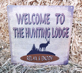 """P"" Tin ""Welcome To The Hunting Lodge"" Wall Hanging, Size Small"