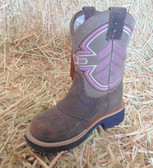 Ariat Cowgirl Boots, Brown Suede, Off-White and Pink Stitching (In Store Only)