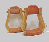 Horse Saddle Stirrups, Quality Wood and Leather, 1 Pair