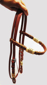 Horse Herman Leather Harness Headstall With Braiding, Adjustable