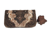 American West 100% Genuine Tooled Leather Ladies Wallet, Tri Fold