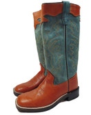 Old West Boot Tall Faded Green/ Rust, Tall Boot, Shown in Size Youth 13.5 (Available In-Store)