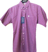 Cinch Men's Short Sleeve Cranberry Colored Shirt (In Store Only)