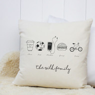 Personalised 'We Love Family' Cushion