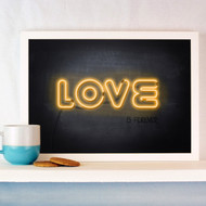 Personalised Neon Chalk Board Love Poster