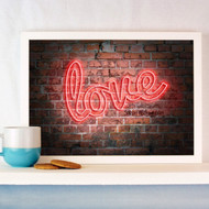 Personalised Neon Brick Wall Love Poster