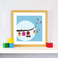 Personalised Birdhouse Family Poster