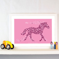 Personalised Horse of Flowers Poster