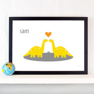 Personalised Dino Sweethearts Poster