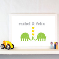 Personalised Elephant Sweethearts Poster