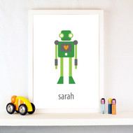 Personalised Robot with Heart Poster