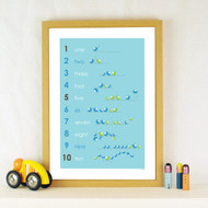 Personalised 123 Birds Poster