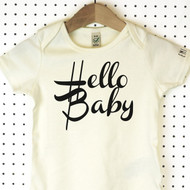 'Hello Baby' Organic Cotton Babygrow or Jumpsuit