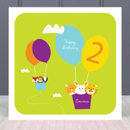 Personalised Age Two Birthday Greeting Card