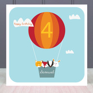 Personalised Age Four Birthday Greeting Card