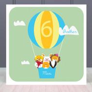 Personalised Age Six Birthday Greeting Card