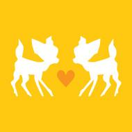 Yellow love bambi Greeting Card
