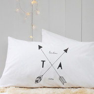 Personalised 'Arrow Initial'  Pillow Case