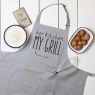 Personalised 'Her Kitchen My Grill' Apron