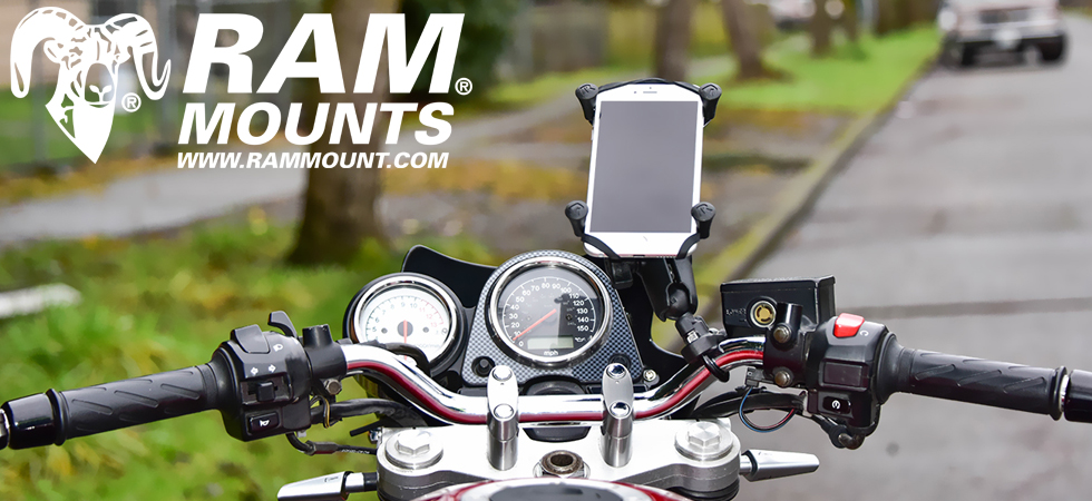 Full range of RAM Mounts to suit a huge range of Motorcycles Phones GPS and Tablets