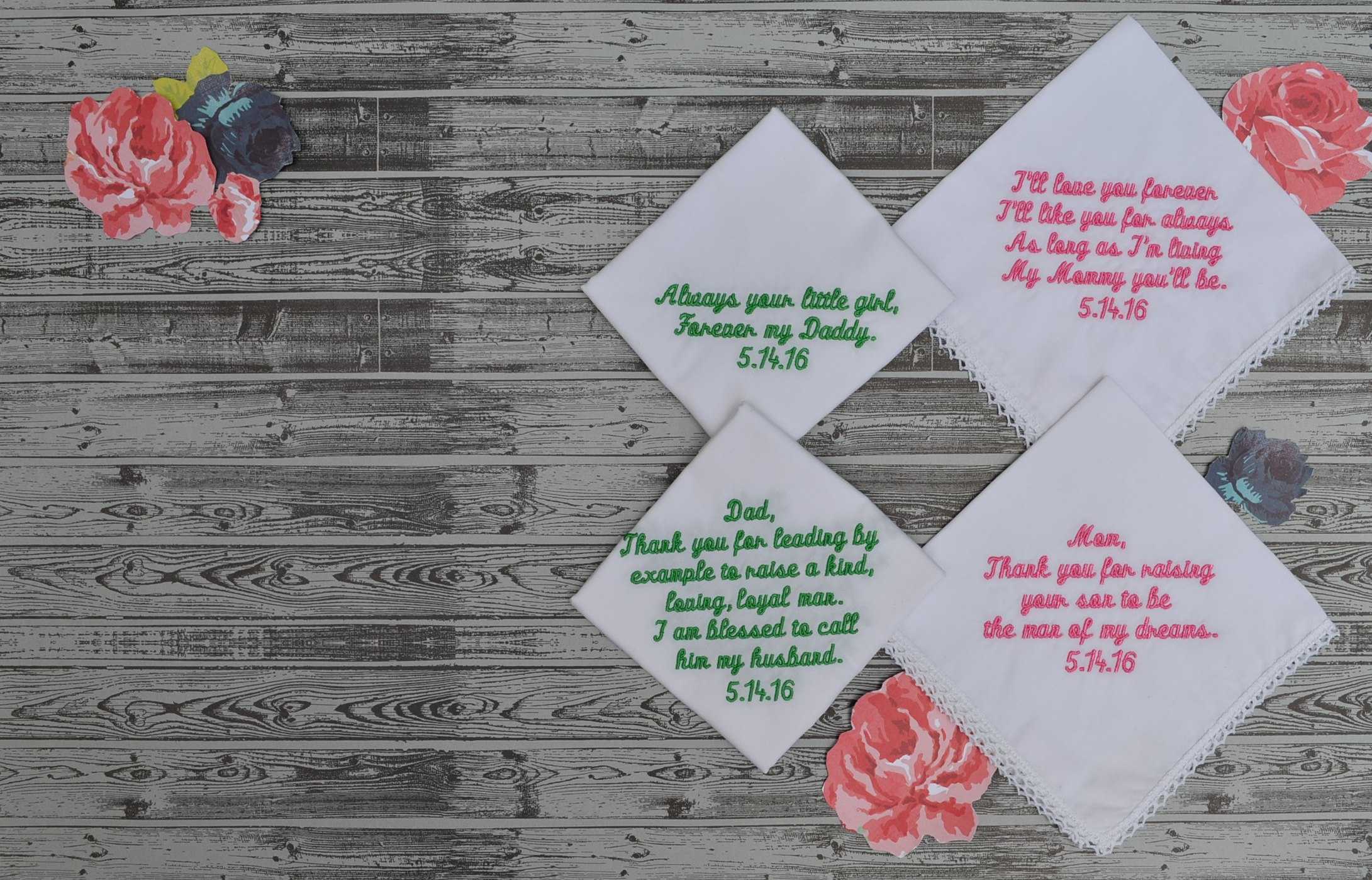 Personalized Handkerchiefs for Mother & Father of the Bride and Mother & Father of the Groom