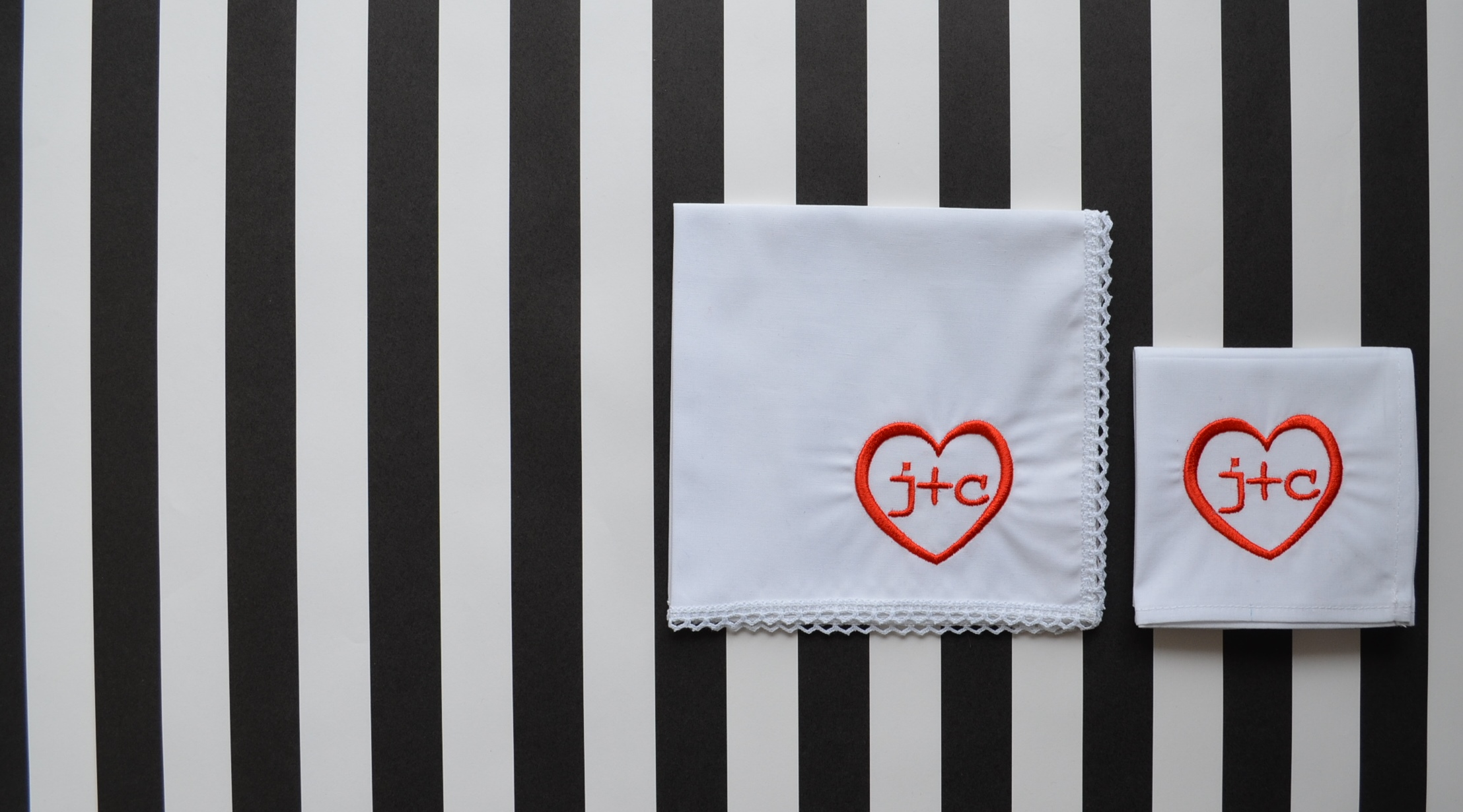 His & Her wedding handkerchiefs