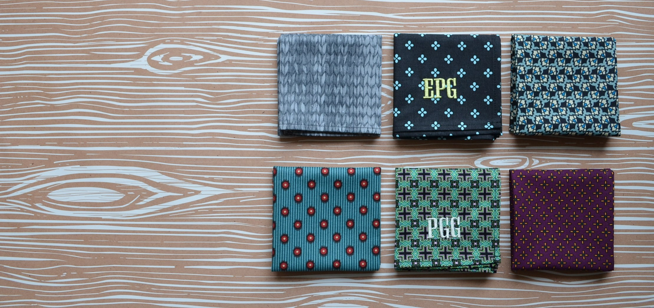 Men's monogrammed handkerchiefs