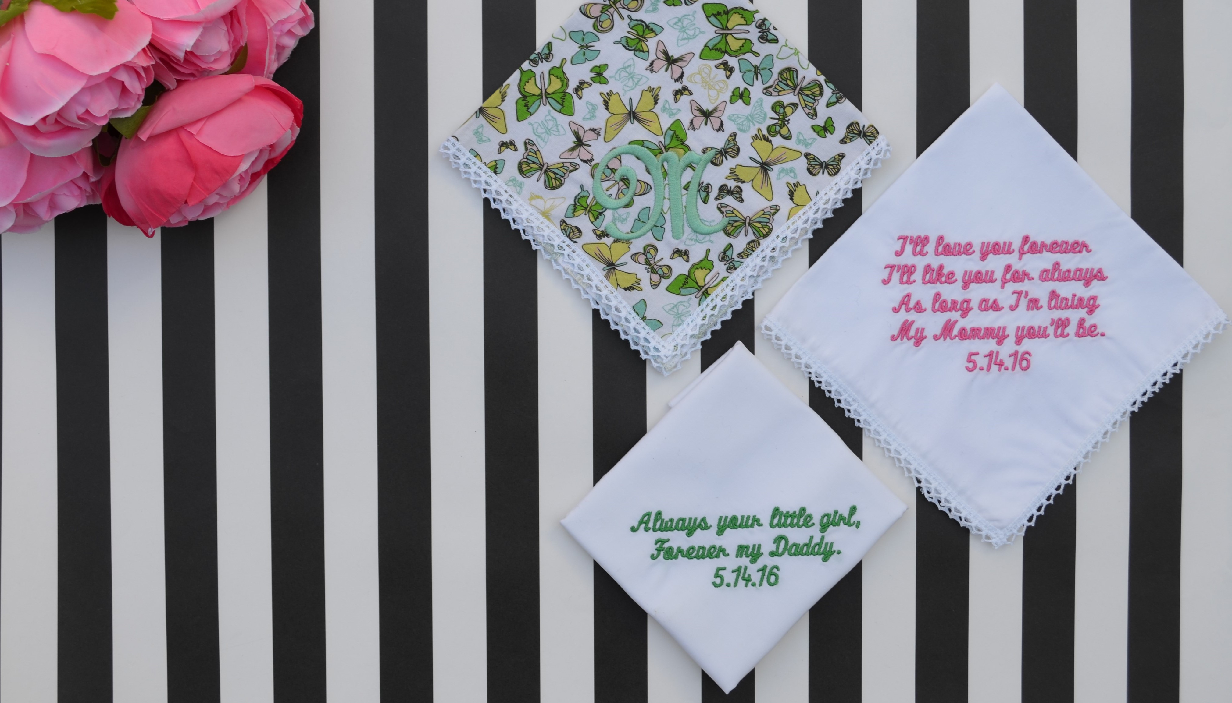 Personalized Wedding Handkerchiefs for Mother & Father of the Bride and Mother & Father of the Groom