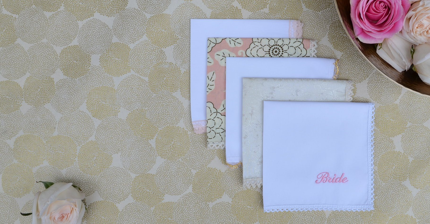 Wedding Handkerchiefs with Embroidery in White, Gold, Cream, & Blush