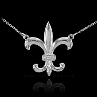 14k White Gold Diamond Fleur-de-Lis Necklace